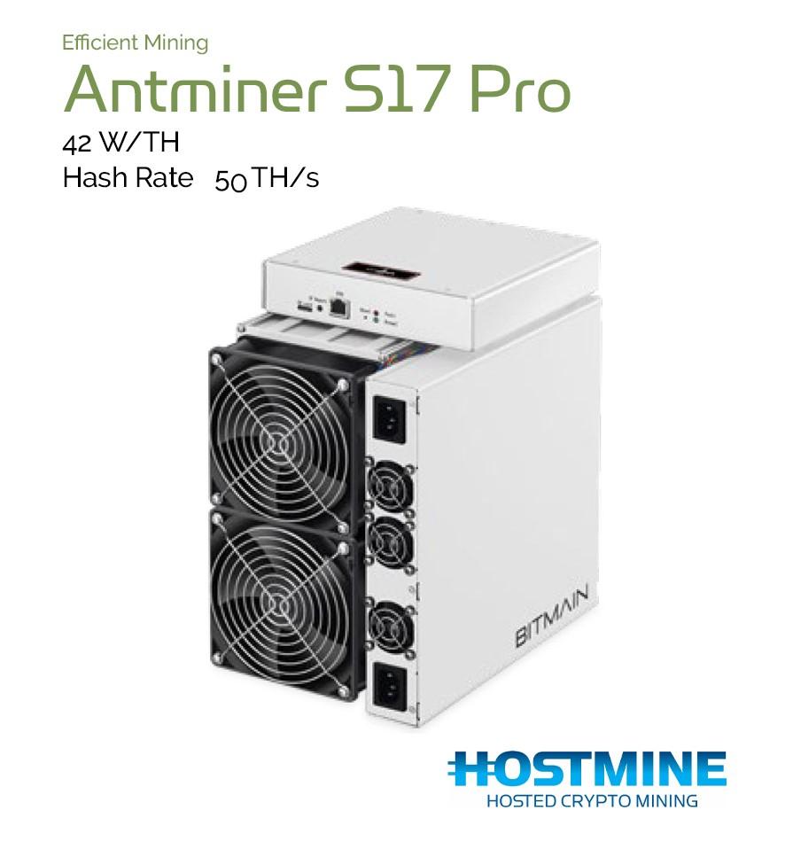 Antminer S17 Pro 50 TH/s   Cryptocoin Miner   Hostmine