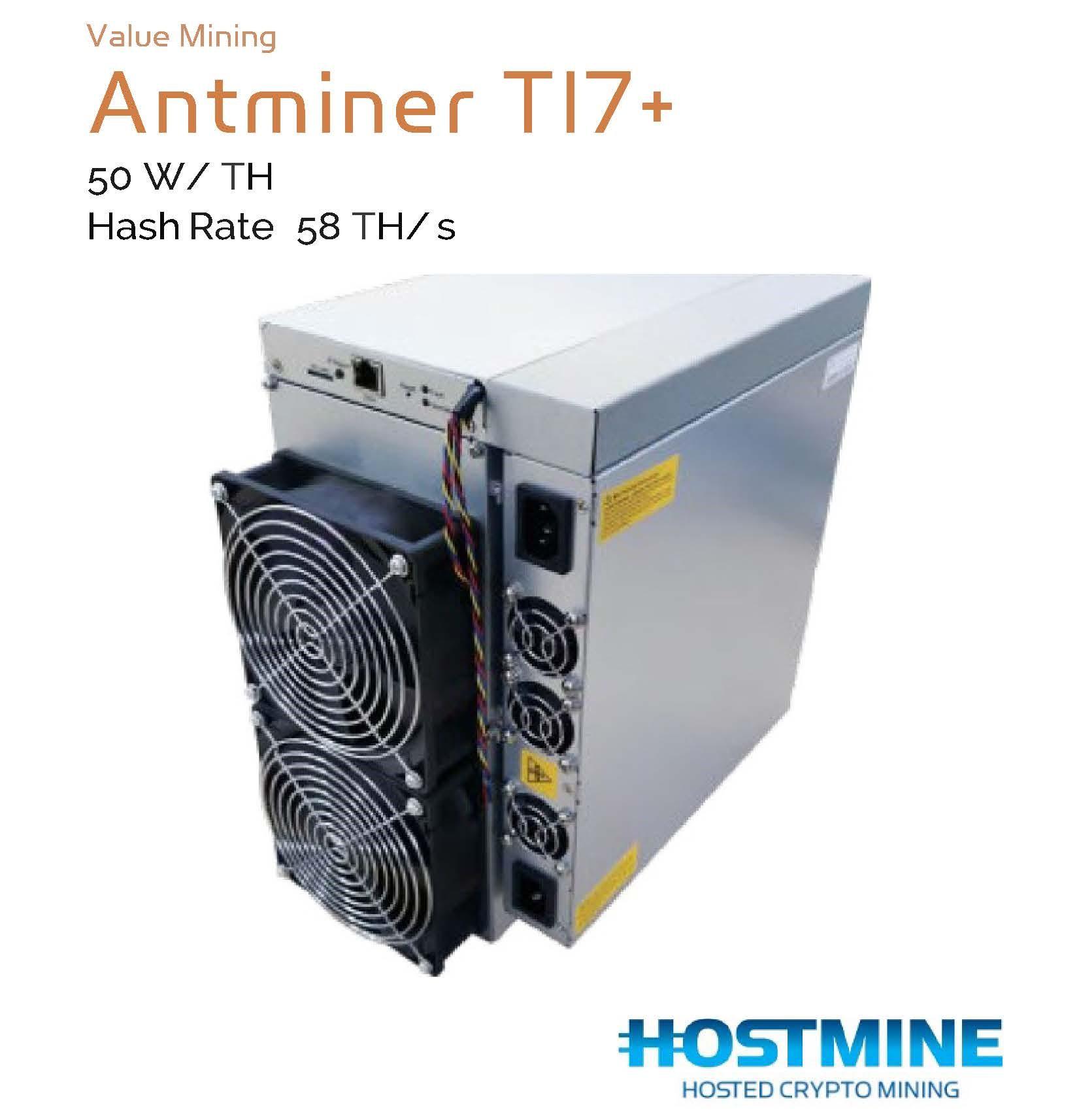 AntMiner T17+ 58 TH/s   HOSTMINE